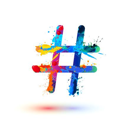 Símbolo vetorial hashtag de pintura aquarela
