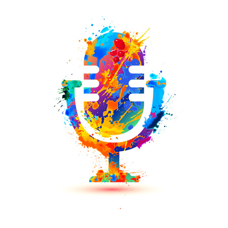 Microphone icon of vector watercolor splash paint