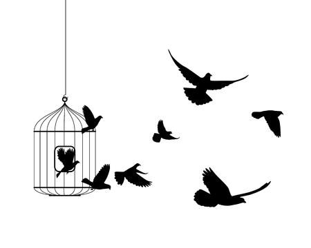 deliverance: Liberation vector symbol. Birds flying out of cage Illustration