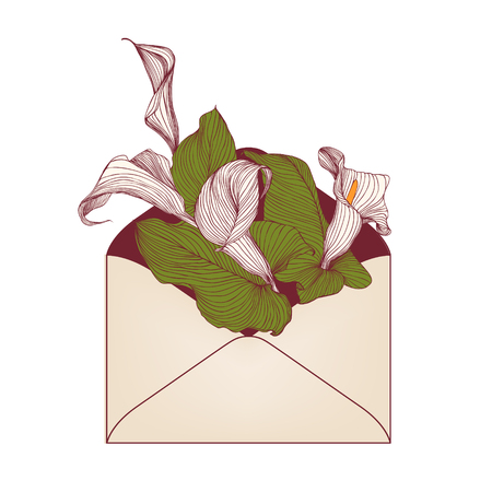 Envelope with calla flowers on white background