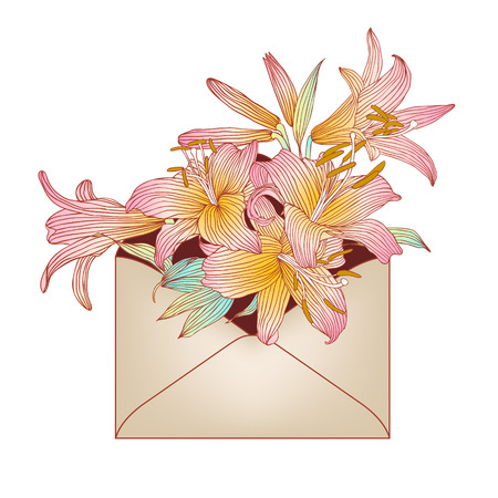 Envelope with pink royal lily flowers. Vector