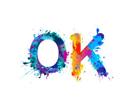 OK. Splash pain vector watercolor word on white