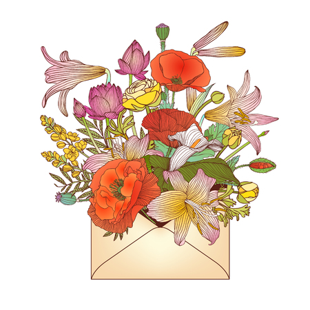 Envelope with assorted flowers (poppy, lilyes, etc.)