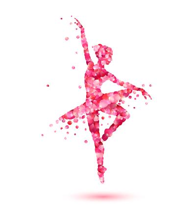 Vector ballerina silhouette of pink rose petals 向量圖像