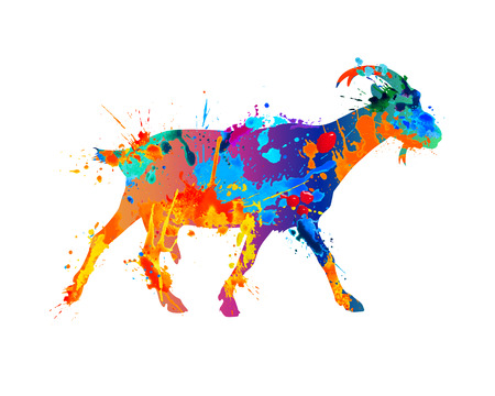 Walking goat silhouette of vector watercolor splash paint Illustration