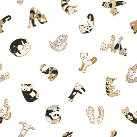 Naadloze vector klomp - katten letters op een witte achtergrond Stock Illustratie