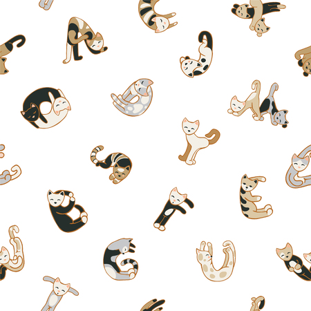 patten: Seamless vector patten - cats letters on white background