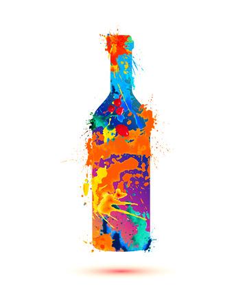Wine bottle. Vector watercolor multicolored splash paint Vectores