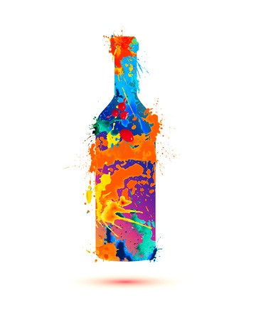 Wine bottle. Vector watercolor multicolored splash paint Ilustração