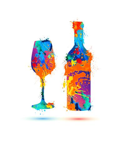 Kieliszek do wina i butelka. Wektor powitalny farby
