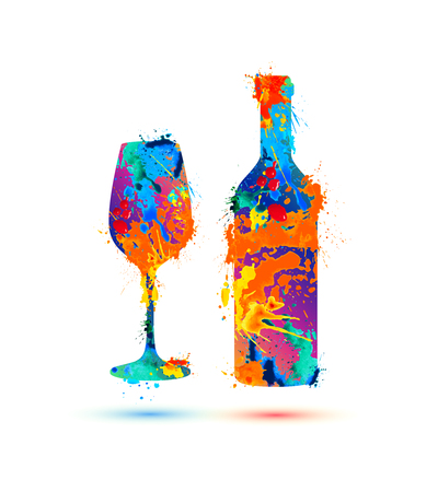 Wine glass and bottle. Vector splash paint Çizim