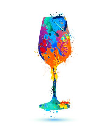 와인 잔. 벡터 수채화 여러 가지 빛깔 된 스플래시 페인트