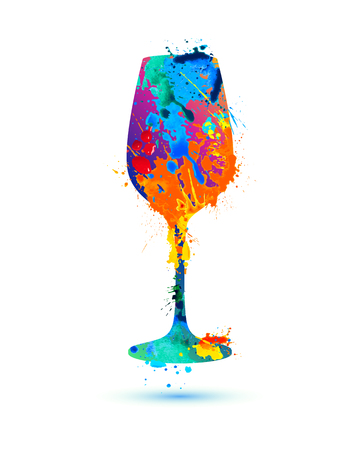 Wine glass. Vector watercolor multicolored splash paint