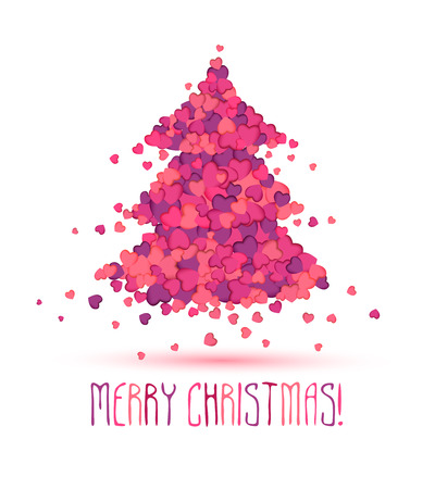 christmas perfume: Beauty salon Holiday congratulation card.  Christmas tree of pink hearts Illustration