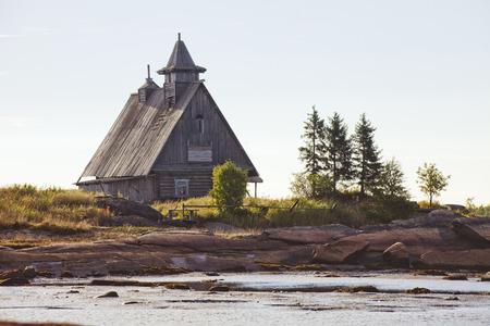 karelia: Rabocheostrovsk fake wooden church on the White Sea. Karelia, Russia.