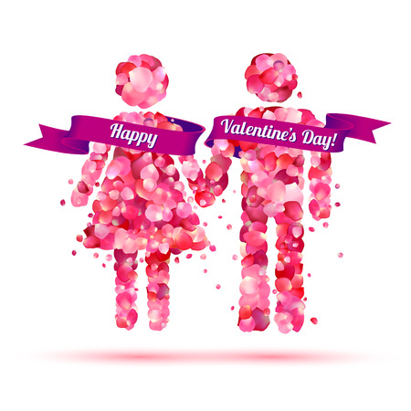 Greeting Card: Happy Valentines Day. Boy and girl holding hands Illustration