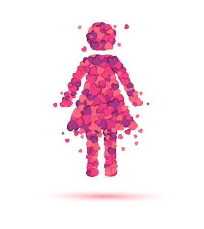 amor: Woman (girl) in love icon of pink hearts