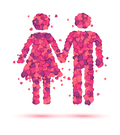 Boy and girl holding hands. Logo for dating site