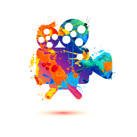Video camera vector watercolor splash paint icon