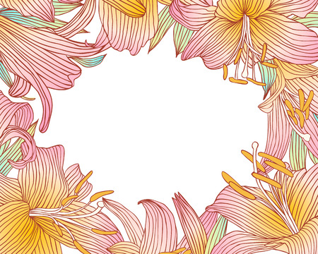 pink lily: Floral frame of pink lily flowers. Vector background Illustration