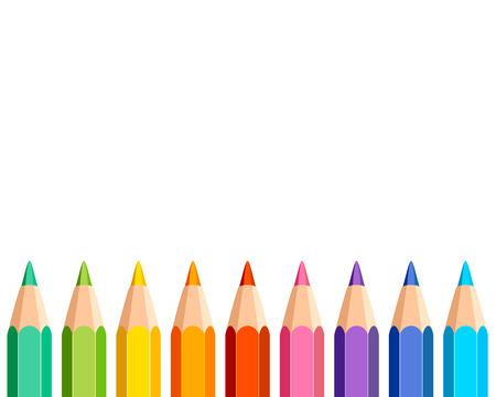 Witte achtergrond met kleurpotloden op de bodem