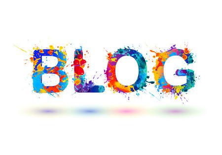 Blog. Vector word of watercolor splash paint Stock Vector - 67270129