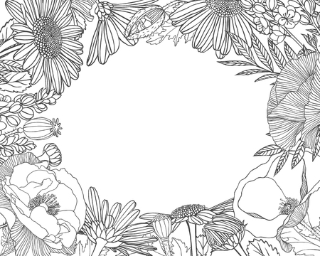 Linear floral frame of different flowerss. Vector background