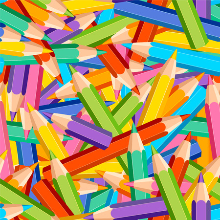Seamless vector chaotic pattern of colored pencils