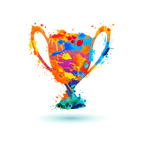Winner trophy cup icon. Splash paint vector