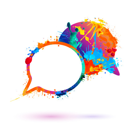 Dialog icon. Vector watercolor splash paint symbol Illustration