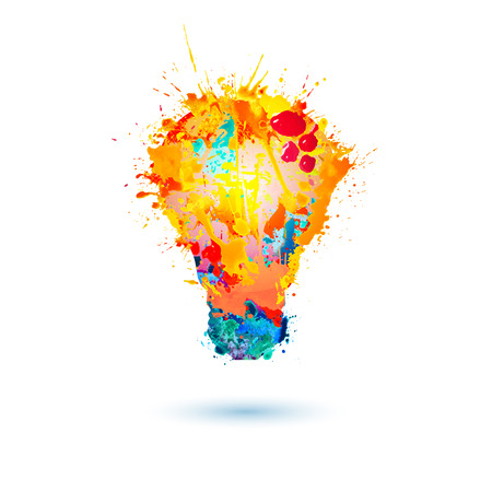 Light lamp icon. Vector splash paint illustration.