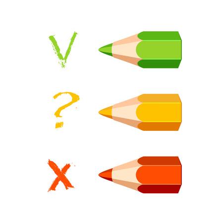 Three Colored Pencils Yes No May Be Symbols Check Mark Question
