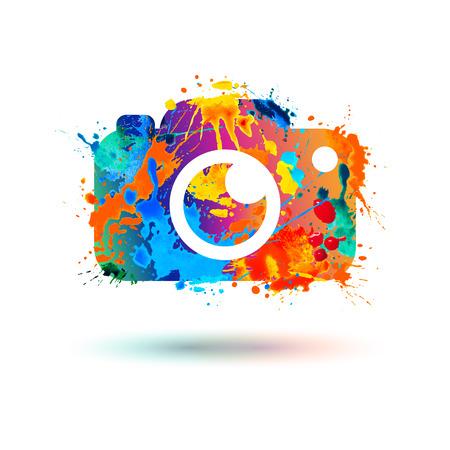 写真カメラのアイコン。水彩のスプラッシュのベクトル図