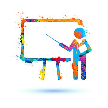 Präsentationssymbol. Training Vektor Aquarell Spritzer Farbe Symbol
