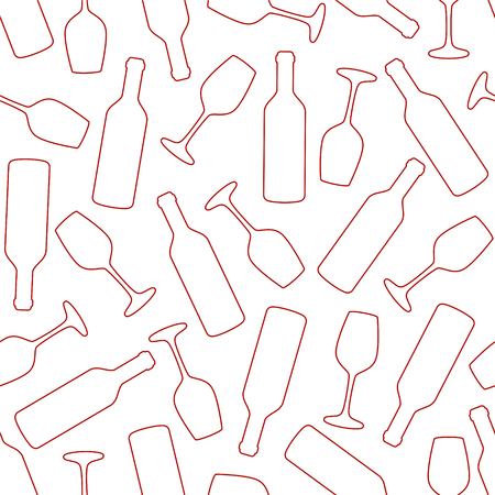Seamless vector pattern - wine glass and bottle