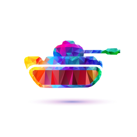 Tank vector icon. Low poly rainbow symbol Illustration