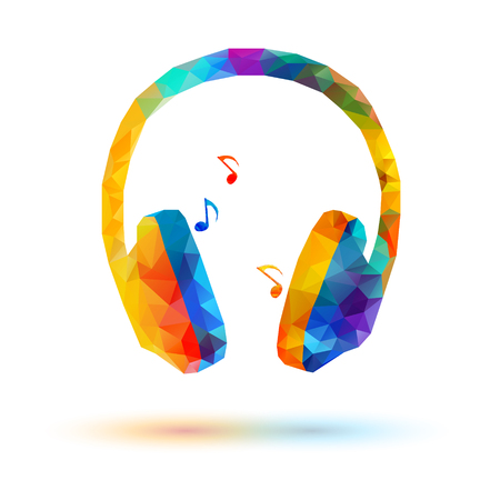 Vector low poly headphone on white background Vettoriali
