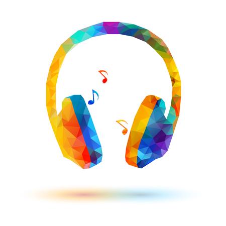 Vector low poly headphone on white background Stock Illustratie