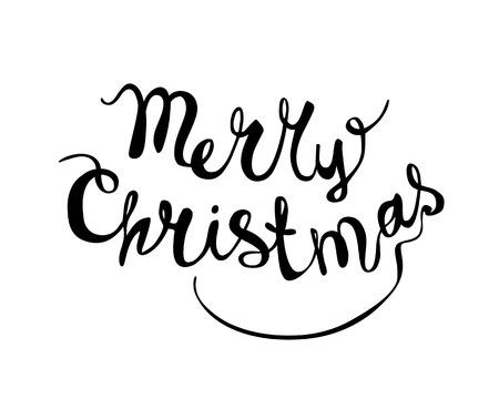 hand writing: Merry Christmas vetor congratulation inscription. Hand writing