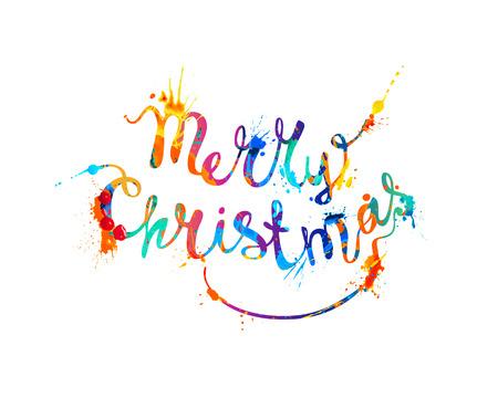 hand writing: Merry Christmas. Hand writing watercolor splash paint