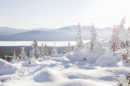 snowdrifts: Snowdrifts on the ridge Zyuratkul. Ural winter landscape Stock Photo