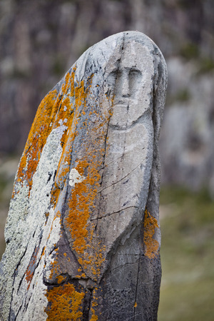 archaeological sites: Stone warrior (VI-IX centuries AD) from archaeological sites in the Altai - the sanctuary of Adyr-Kahn Stock Photo