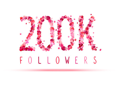 200K (two hundred thousand) followers. Pink rose petals
