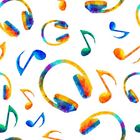 quaver: Seamless vector musical pattern - Quaver Notes, headphones