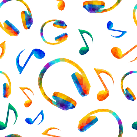 Seamless vector musical pattern - Quaver Notes, headphones