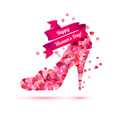 Happy womans day! 8 March holiday. High heels shoe. Pink rose petals