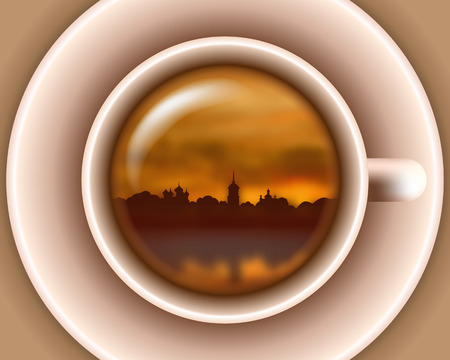 down town: sunset town silhouette on river in a tea cup
