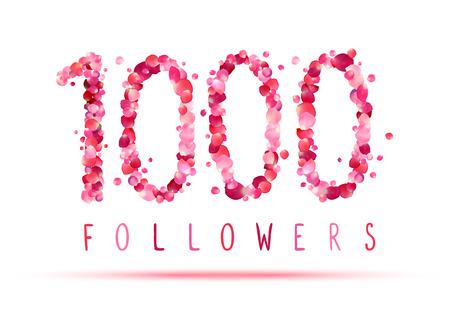 1000 (one thousand) followers. Pink rose petals