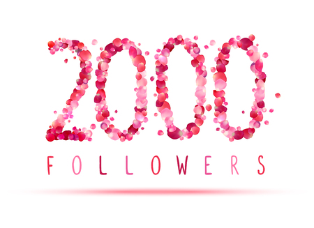 2000 (two thousand) followers. Pink rose petals