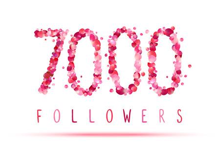 followers: 7000 (seven thousand) followers. Pink rose petals Illustration